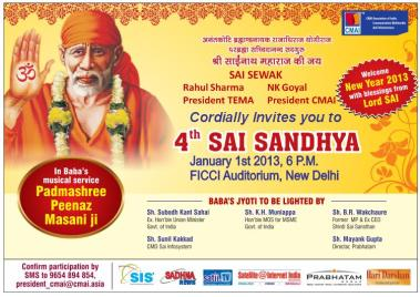 Welcome 2013 with Sai Sandhya on 1st January, 6PM at FICCI Auditorium